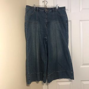 Goddess plus size jeans wide leg capris